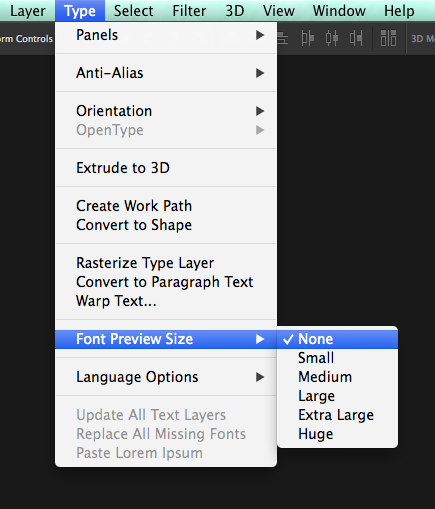 Photoshop - Font Preview CS6